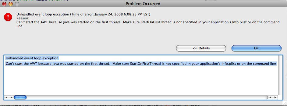 StartOnFirstThread Error Message