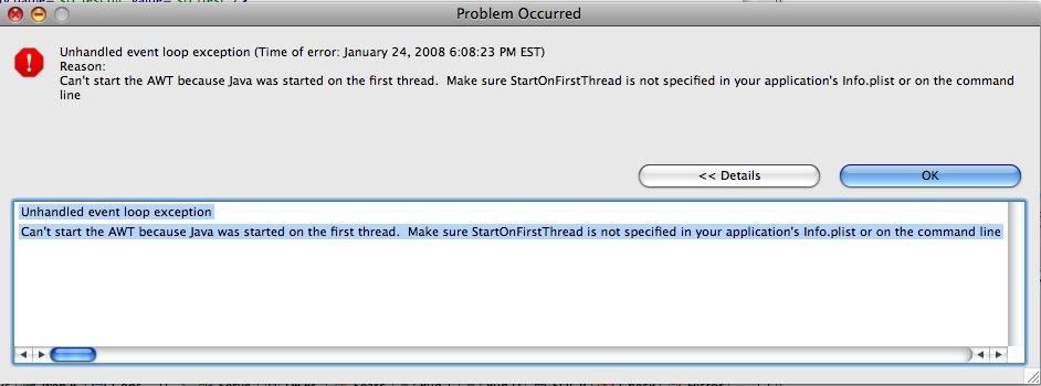 StartOnFirstThread Error Message