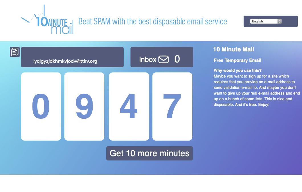 10MinuteMail Beta
